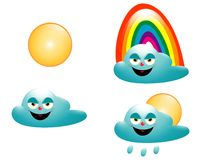 The weather. Illustration of some clous, a rainbow and the sun Royalty Free Stock Image