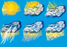 Weather abstract icons Stock Image