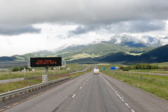 Weather alert on highway Royalty Free Stock Image