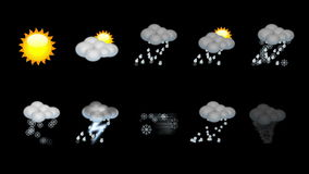 Weather animated icon set. Loop Royalty Free Stock Images