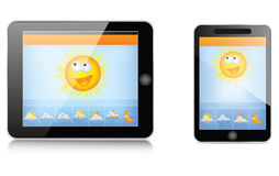 Weather App Interface. On tablet and smartphone Royalty Free Stock Photo
