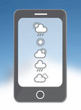 Weather app on smarphone in blue Stock Images