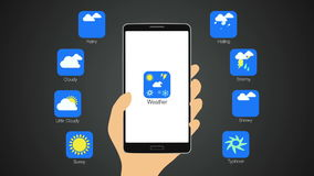 Weather application for smart phone,mobile, Weather forecast icon. stock video footage