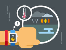 Weather Application on Smart Watch Stock Image