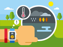 Weather Application on Smart Watch Royalty Free Stock Photos