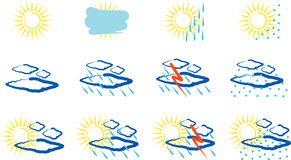 Weather artistic icons Royalty Free Stock Images