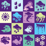 Weather background. Seamless  background with colorful symbols of weather and natural phenomena. Alternation of light and dark cells Stock Photography