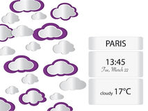 Weather background with cloud shapes and editable info box Stock Images