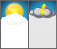 Weather Background with Sun, Cloud, Rain Vector Illustration Royalty Free Stock Image