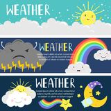 Weather banners with cute cartoon sun, moon, clouds vector template royalty free illustration
