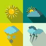 Weather banners set, flat style Stock Image