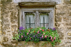 Free Weather-beaten Wooden Window With Flower Decoration Stock Photography - 45305362