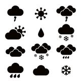 Weather blac icons Royalty Free Stock Image