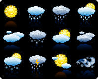 Weather_black background icon set Royalty Free Stock Image