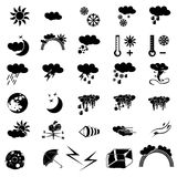 Weather black icons Royalty Free Stock Photo