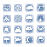 Weather blue icons set Royalty Free Stock Photography