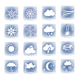 Weather blue icons set Stock Photos