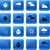 Weather buttons. Collection of blue square weather rollover buttons Stock Photography