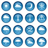 Weather Buttons. 16 individually grouped blue glossy weather buttons Royalty Free Stock Photo