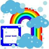 Weather card. Clouds and rainbow cartoon card Stock Images