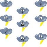 Weather cartoon flash cloud set 007 Royalty Free Stock Photography