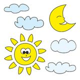 Weather cartoon icons vector illustrations  on white background Royalty Free Stock Photography