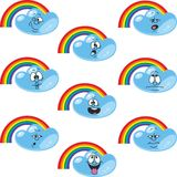 Weather cartoon rainbow set 002 Stock Images