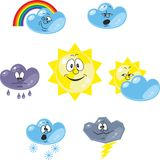 Weather cartoon set 001 Royalty Free Stock Photos