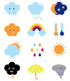 Weather cast cute elements set Royalty Free Stock Image