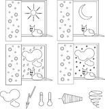 Weather with the cat, he sits on the window. Clipart, black and white weather icons. Royalty Free Stock Photography