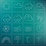 Weather chalky icons Stock Photography