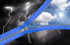 Weather changes. From rain to sun, digital art with zipper Royalty Free Stock Photo