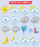 Weather characters. Vector of weather icon characters Royalty Free Stock Photo