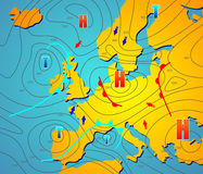 Weather chart. Imaginary weather chart of Europe with isobars
