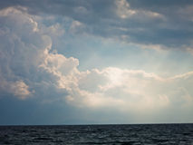Weather clearing at sea after the storm in Sithonia Stock Images