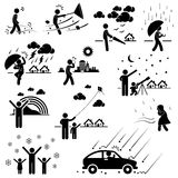 Weather Climate Atmosphere Environment Pictograms. A set of pictograms representing various weather and climate with people Royalty Free Stock Photos