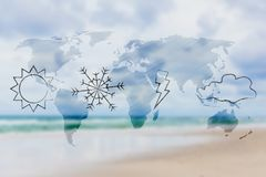 Sun snow bolt and cloud icons over world map overlay and blurred. Weather and climate conceptual illustration: sun snow bolt and cloud icons over world map royalty free illustration