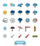 Weather and climate filled line icons set Royalty Free Stock Image