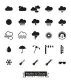 Weather and climate glyph icons set Stock Photography