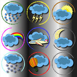Weather cloud sun background template icons. Weather icons in round frames on the gradient background Stock Photography