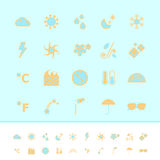 Weather color icons on blue background Royalty Free Stock Photography