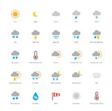 Weather colored icons on white background Stock Images