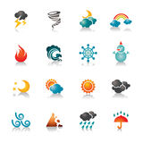 Weather Colorful Icons. A collection of different kinds of weather colorful icons. It contains hi-res JPG, PDF and Illustrator 9 files Royalty Free Illustration