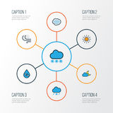 Weather Colorful Outline Icons Set. Collection Of Sunshine, Windy, Tornado And Other Elements. Also Includes Symbols Royalty Free Stock Photography