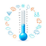 Weather Concept. Blue Thermometr and Icon Set Stock Photography