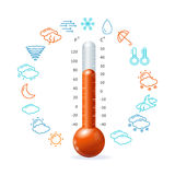 Weather Concept. Red Thermometr and Icon Set Royalty Free Stock Photography