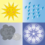 Weather Condition Icons. Four weather conditions icon: sunny rainy windy wintry Stock Image