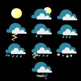 Various weather conditions plain color version stock illustration