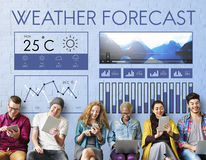 Weather Condition News Report Climate Forecasting Meteorology Te. Diverse People Weather Forecast Concept Stock Photo
