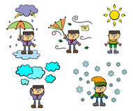Weather conditions. A set of humorous illustrations of different weather conditions Stock Photo